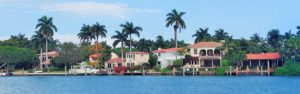 Luxury homes on the water with docks , and boat lifts.